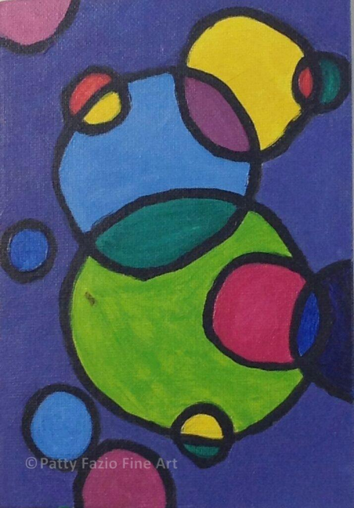 Blowing Bubbles | Acrylic on canvas board | 5x7